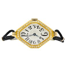 Gemex Art Deco 1.00 CTW Diamond 18 Karat Gold Antique Watch Bracelet