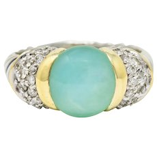 David Yurman Diamond Chrysoprase 18 Karat Gold Silver Capri Ring