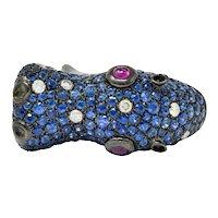 Contemporary 5.28 CTW Sapphire Diamond Ruby 18 Karat Gold Hippo Ring