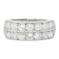 Mid-Century 1.50 CTW Diamond Platinum Band Ring Circa 1950