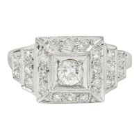 Art Deco 0.70 CTW Diamond Platinum Square Stepped Engagement Ring