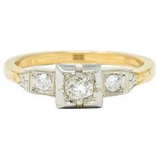 Ringcraft Retro 0.45 CTW Diamond 14 Karat Two-Tone Gold Engagement Ring