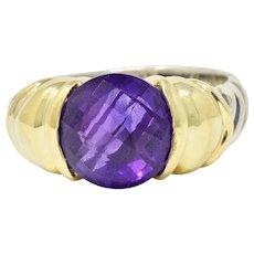 David Yurman Amethyst 18 Karat Gold Silver Capri Ring