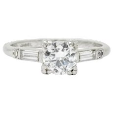 Jabel Late Art Deco 0.83 CTW Diamond Platinum Engagement Ring