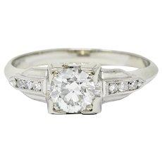 Art Deco 0.67 CTW Diamond 18 Karat Gold Engagement Ring