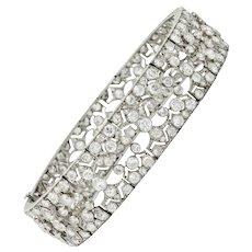French Art Deco 12.50 CTW Diamond Platinum Fleur-De-Lis Link Bracelet