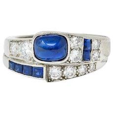 Maurice Tishman Art Deco 2.72 CTW Sapphire Diamond Platinum Band Ring