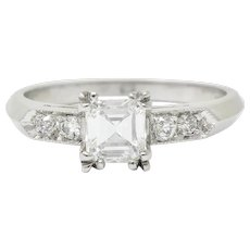 Art Deco 0.96 CTW Asscher Cut Diamond Platinum Engagement Ring GIA