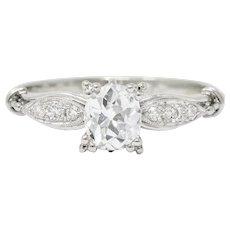 Early Retro 0.75 CTW Diamond Platinum Engagement Ring GIA