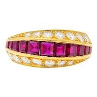 Oscar Heyman Bros. 2.50 CTW Ruby Diamond 18 Karat Gold Band Ring