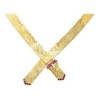 Tiffany & Co. Retro Ruby Diamond 14 Karat Gold Buckle Collar Necklace