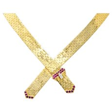 Tiffany & Co. Retro Ruby Diamond 14 Karat Gold Buckle Collar Necklace