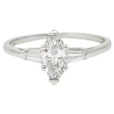 Retro 1.10 CTW Marquise Cut Diamond Engagement Ring GIA