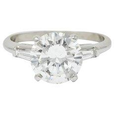 1950's Mid-Century 2.62 CTW Diamond Platinum Engagement Ring GIA