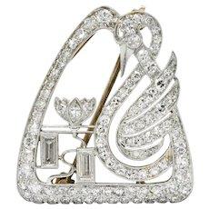 Art Deco 2.00 CTW Diamond Platinum Swan Brooch Pendant Circa 1930s