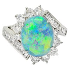 Vibrant Opal Diamond Platinum Cluster Bypass Ring