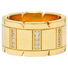 Cartier Vintage Diamond 18 Karat Gold Unisex Tank Francaise Band Ring