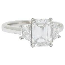 Contemporary Emerald Cut Diamond Platinum Engagement Ring GIA