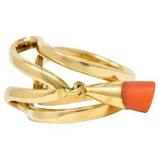 Chaumet Paris Vintage 18 Karat Gold Coral Charm Band Ring Circa 1970s