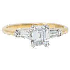 Retro 1.30 CTW Emerald Step Cut Diamond 14 Karat Two-Tone Gold Engagement Ring GIA