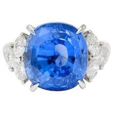 10.71 CTW No Heat Ceylon Sapphire Diamond Platinum Statement Ring GRS