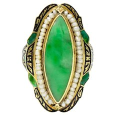 Victorian Jade Natural Freshwater Pearl Enamel 14 Karat Gold Navette Ring