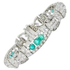 1950's Mid-Century 9.55 CTW Emerald Diamond Platinum Scrolled Link Bracelet