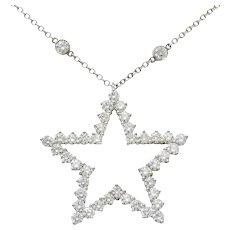 Tiffany & Co. 5.56 CTW Diamond Platinum Diamonds-By-The-Yard Star Pendant Necklace