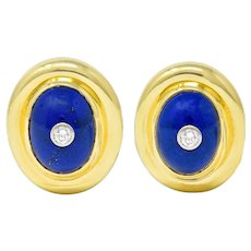 Paloma Picasso Tiffany & Co. Diamond Lapis 18 Karat Gold Earrings
