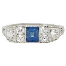 Art Deco Sapphire Diamond Platinum Filigree Band Ring