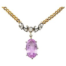 Victorian 22.76 CTW Pink Topaz Diamond Silver 14 Karat Gold Drop Necklace GIA