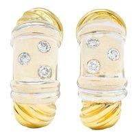 David Yurman Diamond Sterling Silver 18 Karat Gold Metro J Hoop Earrings