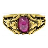 Victorian Egyptian Revival Ruby Cabochon 18 Karat Green Gold Bastet Goddess Ring