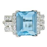Retro 7.75 CTW Aquamarine Diamond 18 Karat Gold Scrolled Statement Ring