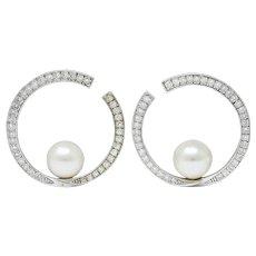 Contemporary 1.00 CTW Diamond Cultured Pearl 18 Karat White Circle Earrings