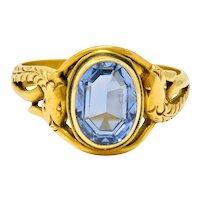 Art Nouveau No Heat Ceylon Sapphire 14 Karat Gold Snake Ring AGL