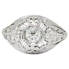 Edwardian Diamond Platinum Floral Engagement Ring