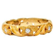 Jabel Diamond 14 Karat Gold Dogwood Flower Band Ring Contemporary