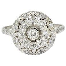 Art Deco 0.45 CTW Diamond Platinum Floral Dinner Ring