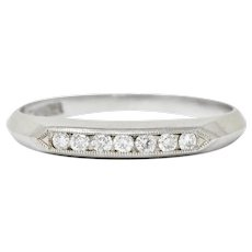 Art Deco 0.18 CTW Diamond Platinum Knife Edge Band Ring