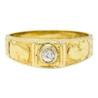Egyptian Revival Diamond 14 Karat Gold Lotus & Pharaoh Ring