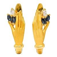 Carrera y Carrera Sapphire Diamond 18 Karat Gold Las Manos Earrings