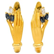 Carrera y Carrera Sapphire Diamond 18 Karat Gold Las Manos Earrings