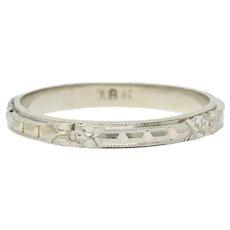 Art Deco 18 Karat White Gold Orange Blossom Band Ring