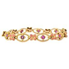 Art Nouveau Ruby Enamel 18 Karat Gold Flower Link Bracelet