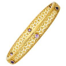 Art Nouveau Amethyst 14 Karat Gold Scrolled Filigree Bangle Bracelet