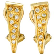 Unoaerre Diamond 18 Karat Gold Italian Huggie Ear-Clip Earrings