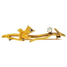 Victorian Old Mine Diamond 18 Karat Gold Squirrel Brooch