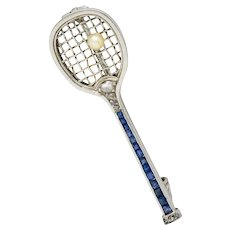 Edwardian Sapphire Diamond Pearl Platinum Tennis Racket Brooch