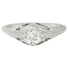 Art Deco 0.42 CTW Diamond Platinum Foliate Engagement Ring